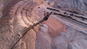 Conveyor console of the spreader during operation. Transportation of an empty rock to a dump stock footage