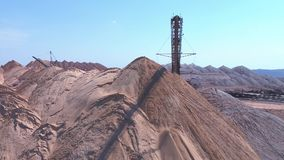 Conveyor console of the spreader during operation. Transportation of an empty rock to a dump stock video footage