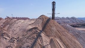 Conveyor console of the spreader during operation. Transportation of an empty rock to a dump stock video