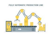 Conveyor Fully Automatic Production Line. Vector Stock Photos