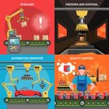 Conveyor Icons Set Stock Photos