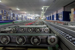 Conveyor line. Assembly TV construction royalty free stock image