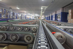 Conveyor line. Assembly TV construction stock photography