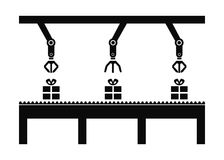 Conveyor line with automatic robots vector illustration icon Royalty Free Stock Image