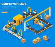 Conveyor Line Concept. Conveyor line isometric concept with technology symbols on blue background vector illustration Stock Photo