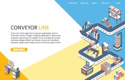 Conveyor line landing page website vector template stock illustration