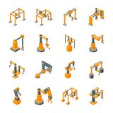 Conveyor Machines Robotic Hand Icons Set Isometric View. Vector. Conveyor Machines Robotic Hand Icons Set Isometric View Industry Technology Concept for Web Stock Photos