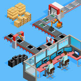 Conveyor Manufacturing Line Operators Isometric Poster Stock Image