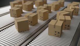Conveyor with many cardboard boxes. Package delivery concept. 3D rendered illustration. royalty free illustration