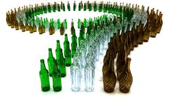 Conveyor multicolored empty bottles. Large number of green brown white empty bottles arranged on a curve Royalty Free Stock Photos
