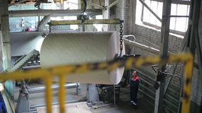 Conveyor at an old paper mill stock video
