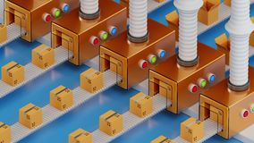 Conveyor packaging belt. Industrial factory shipment cargo business concept. 3d rendering fullHD loopable animation royalty free illustration