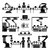 Conveyor production manufacturing line and workers vector icons Stock Image
