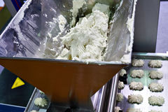 Conveyor for production of marshmallows, sweets and cream roses Stock Photo