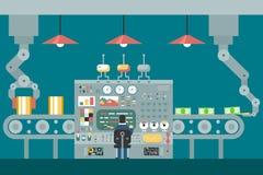 Conveyor robot manipulators work businessman in vector illustration