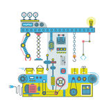 Conveyor robotic system with manipulators. Technlology process vector flat concept Royalty Free Stock Images