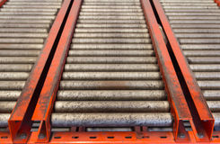 Conveyor rollers transport system Royalty Free Stock Image