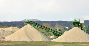 Conveyor on site at gravel pit Stock Images