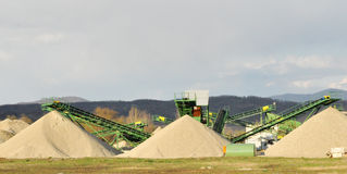 Conveyor on site at gravel pit Royalty Free Stock Photos