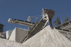 Conveyor on site at gravel pit. Portugal - Europe Stock Photos