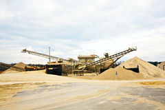 Conveyor on site at gravel pit Stock Photo