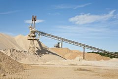 Conveyor on site at gravel pit Royalty Free Stock Photo