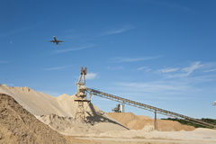 Conveyor on site at gravel pit Royalty Free Stock Images