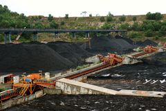 Conveyor in the stockpile of a coal mining Royalty Free Stock Photography
