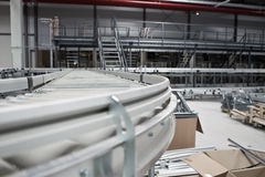 Conveyor System. A conveyor system in a warehouse Stock Photography