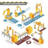 Conveyor System Isometric Infographics Stock Photo