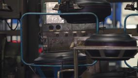Conveyor with tires at factory. Tires production. stock video footage
