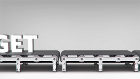 Conveyor with word animation Royalty Free Stock Photography