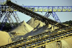 Conveyors. Sand excavation plant with conveyors Royalty Free Stock Photography