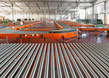 Conveyors. Conveyor Roller System For Sorting in Distribution Warehouse Royalty Free Stock Photos
