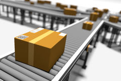 Conveyors With Parcels Royalty Free Stock Images