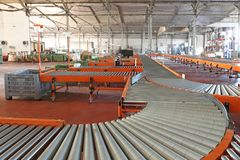 Conveyors System. Conveyor Roller Sorting System in Distribution Warehouse stock photography