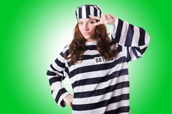 Convict criminal in striped uniform Royalty Free Stock Photo