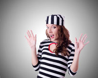 Convict criminal in striped uniform Royalty Free Stock Image