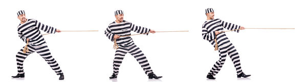 The convict criminal in striped uniform Stock Photo