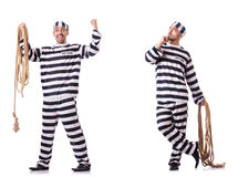 The convict criminal in striped uniform Stock Photos