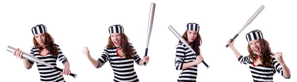 The convict criminal in striped uniform Royalty Free Stock Images