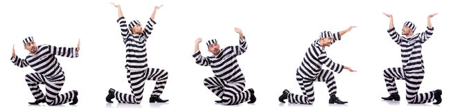 The convict criminal in striped uniform Royalty Free Stock Photography