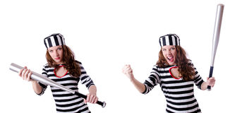The convict criminal in striped uniform Stock Image