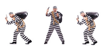 The convict criminal in striped uniform Royalty Free Stock Photos
