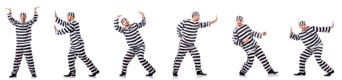 The convict criminal in striped uniform Stock Photography