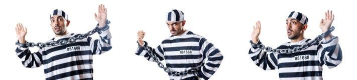 The convict criminal in striped uniform Stock Photos