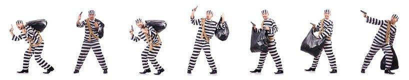 The convict criminal in striped uniform Stock Image