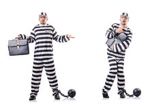The convict criminal in striped uniform Royalty Free Stock Image