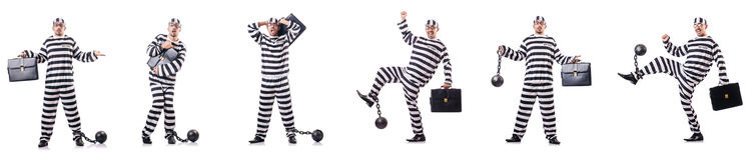 The convict criminal in striped uniform Stock Photo