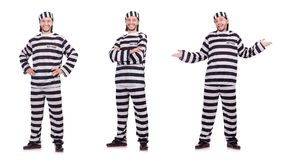 The convict criminal in striped uniform isolated on white. Convict criminal in striped uniform isolated on white Royalty Free Stock Image
